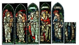 Święci Łukasz, Mateusz i Fidelitas oraz anielscy muzycy projekt Edwarda Burne-Jones a wykonane przez firmę Morris w latach 1910-1912 Znajduje się w Kaplica Zgromadzenia, Birmingham, Anglia