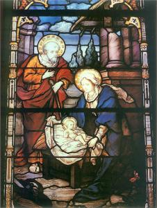 Witraż w Katedrze Łacińskiej - Narodziny Jezusa wg projektu Józefa Mehoffera