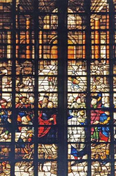 Oczyszczenie świątyni ze sprzedawców Kościół Św. Jana w Gouda w Holandii Dirk Crabeth 1567 r.
