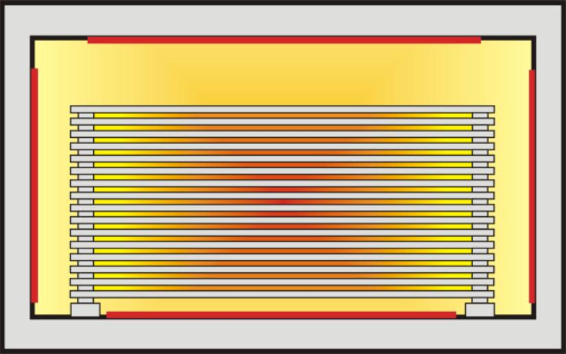 Rozkład temperatur wewnątrz pieca i stosu półek