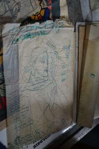 Szkic witraża z notatkami projektanta