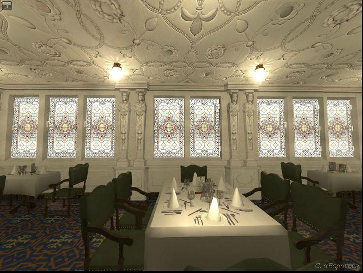 Symulacja komputerowa jadalni w I klasie na statku Titanic