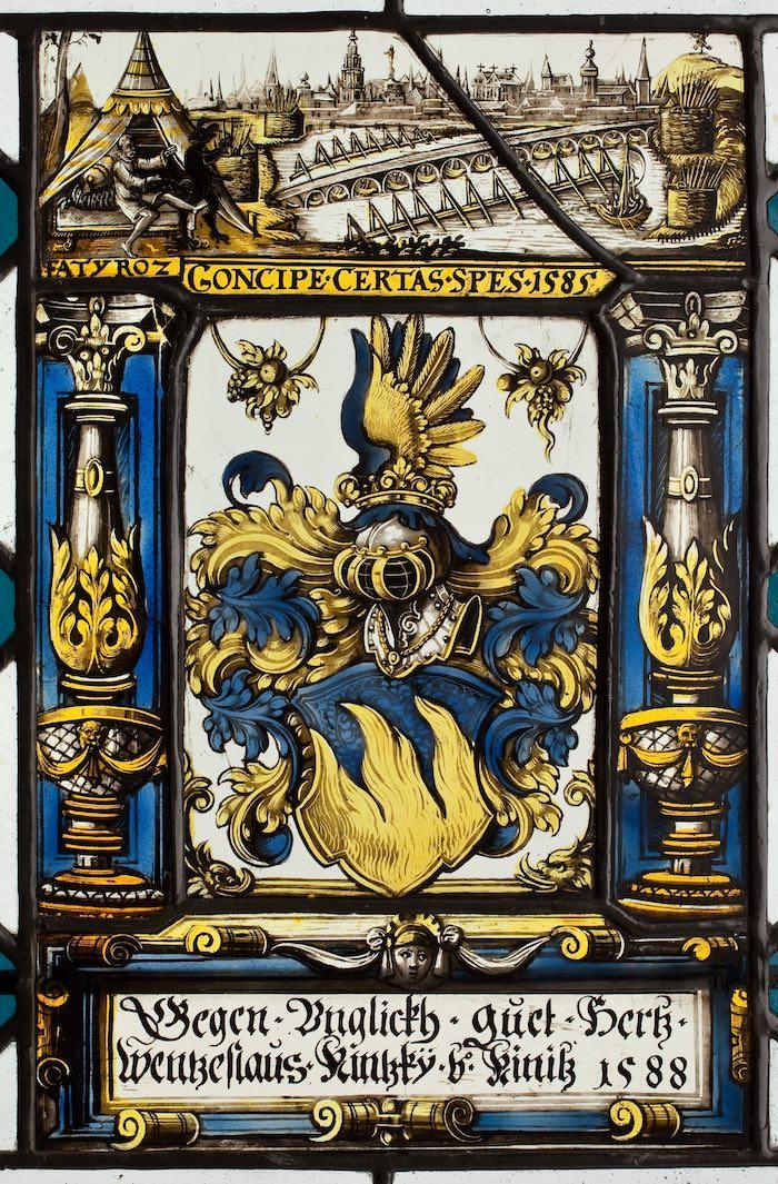 7.Witraż herbowy Wentzeslausa Kintzky, Szwajcaria, 1588