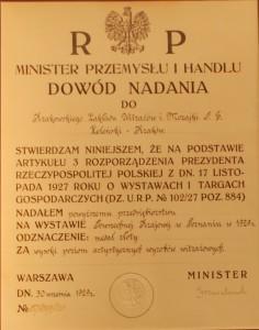 Dowód nadania złotego medalu podczas Powszechnej Krajowej Wystawy 1929