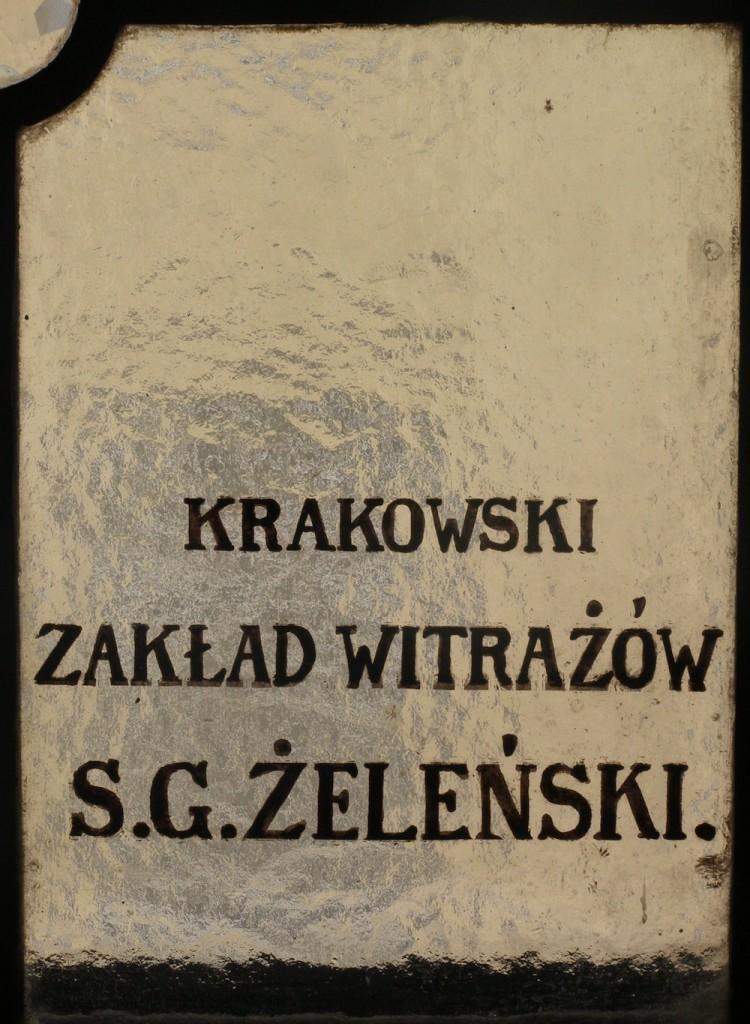 Sygnatura witraża. Lwów Izba Handlowo-Przemysłowa (fot. autor)