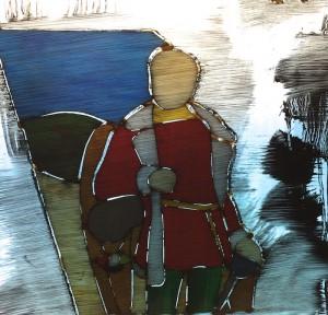 Fot.1 Elementy witraża poświęconego Józefowi Bemowi po naniesieniu warstwy patyny