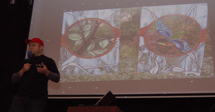 Dawid Zborowski podczas wykładu