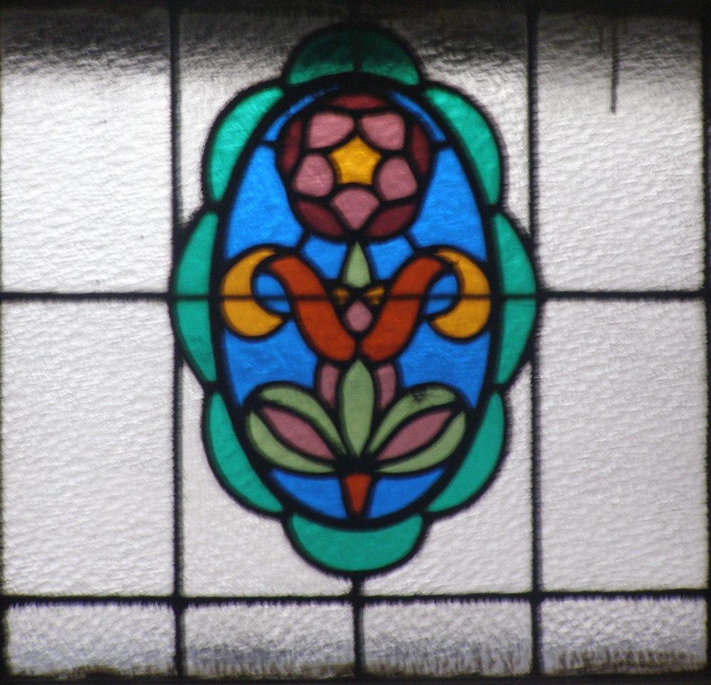Fragment witraża w szkole przy ul.Zielonej 22 we Lwowie