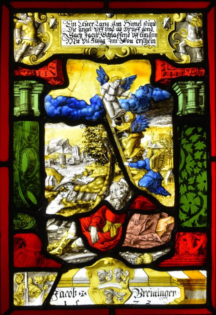[fot.2] autor ?, witraż gabinetowy z herbem Jacoba Breittingera i biblijną sceną snu Jakuba w Muzeum Architektury we Wrocławiu, 1573 r., fot. A.Bochacz